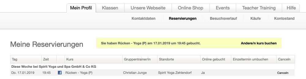 Spirit Yoga Berlin Online-Check-in